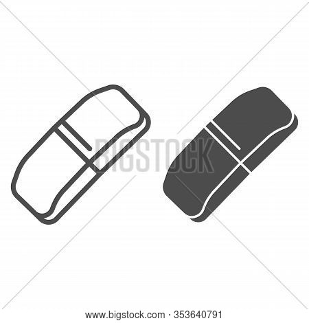 Eraser Line And Solid Icon. Rubber Band Symbol, Outline Style Pictogram On White Background. School