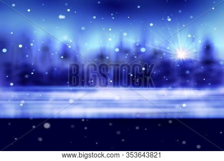 Winter Snow Background With Night Stars And Trees, Vector