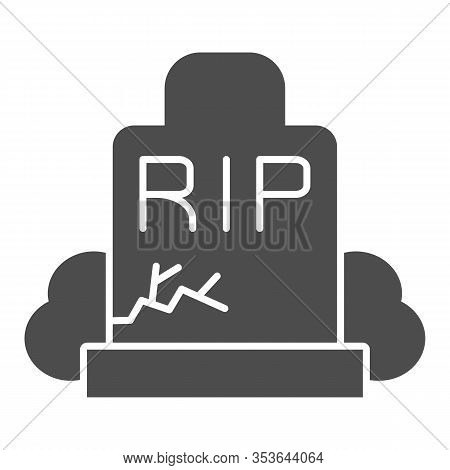 Gravestone Solid Icon. Grave, Funeral Gravestone With Rip Sign And Crack. Halloween Party Vector Des