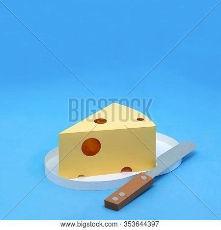Paper Triangular Piece Of Maasdam Cheese With Large Holes On Plate. Dairy Products Made From Paper.