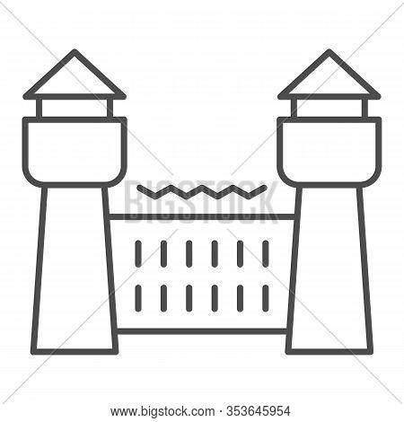 Jail House Thin Line Icon. Prison Castle, Penitentiary Building. Jurisprudence Vector Design Concept