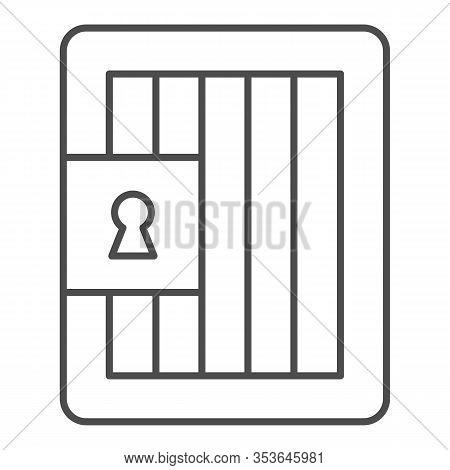 Prison Door Thin Line Icon. Jail Gate, Heavy Metal Frame. Jurisprudence Vector Design Concept, Outli