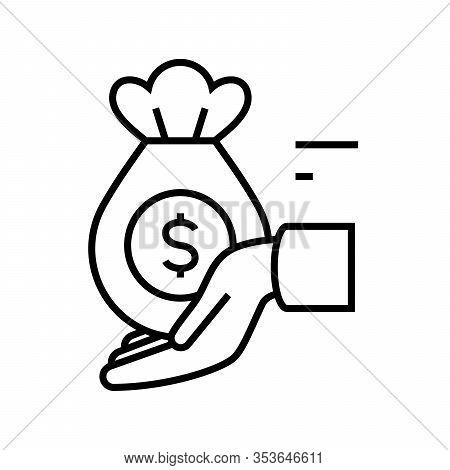 Received Money Line Icon, Concept Sign, Outline Vector Illustration, Linear Symbol.