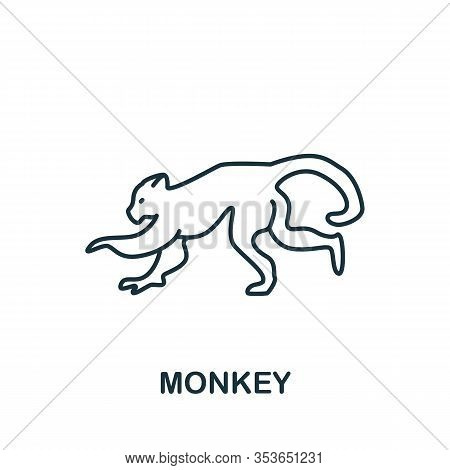 Monkey Icon From Home Animals Collection. Simple Line Element Monkey Symbol For Templates, Web Desig