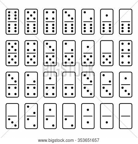 Domino Set Of 28 Tiles. White Pieces With Black Dots. Simple Flat Vector Illustration