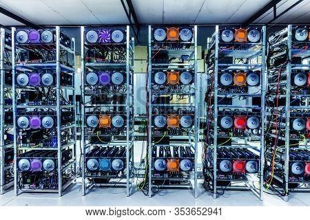 Bitcoin and crypto mining farm. Big data center. High tech server computers at work