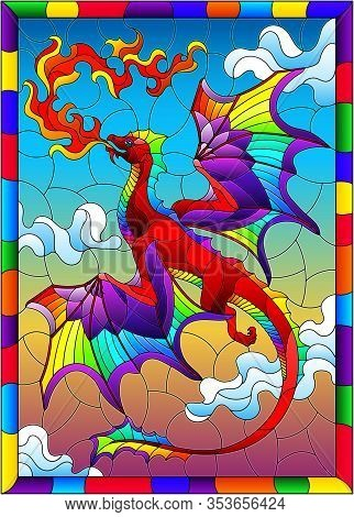Illustration In Stained Glass Style With Bright Dragon With Flames Against The Sky And Clouds Backgr