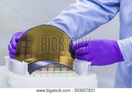 Silicon Wafer With Semiconductors In Plastic White Storage Box Take Out By Hand In Gloves Inside Cle