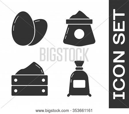 Set Bag Of Flour, Chicken Egg, Wooden Box With Harvest And Bag Of Flour Icon. Vector