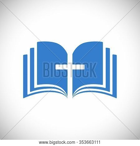 Cross And Book Blue Logotype Concept. Open Book, Pages. Logo Idea. E-book Or E-bible Icon, Religious