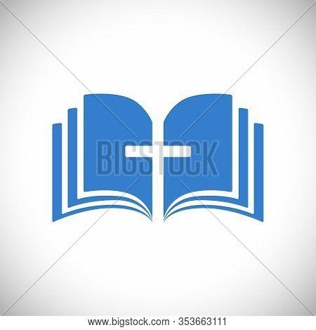 Cross And Book Blue Logotype Concept. Open Book, Pages. Logo Idea. E-book Or E-bible Icon, Religious