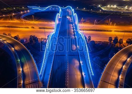 Meydan Bridge And Street Road Or Path Way On Highway With Modern Architecture Buildings In Dubai Dow