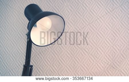 Black Table Lamp. Electric Energy In The Home. Economical Led Lamp. Business And Education. Blue Blu