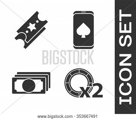 Set Casino Chips, Lottery Ticket, Stacks Paper Money Cash And Online Poker Table Game Icon. Vector