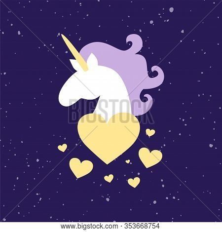 Vector Hand Drawn Illustration Of Magic Fat White Unicorn Horse Head With Purple Mane Isolates On Sp