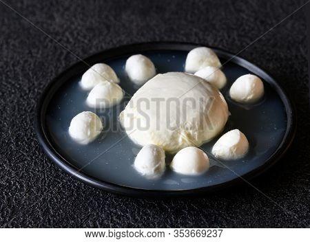 Variety Of Mozzarella In Brine Close Up