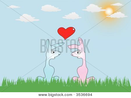 vector romance card with two rabbits in love poster