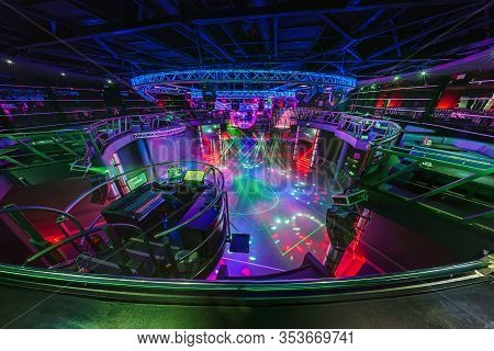 Minsk, Belarus - May 2012: Interior Of Stylish Night Disco Club With Neon Blue Violet Light, Disco M