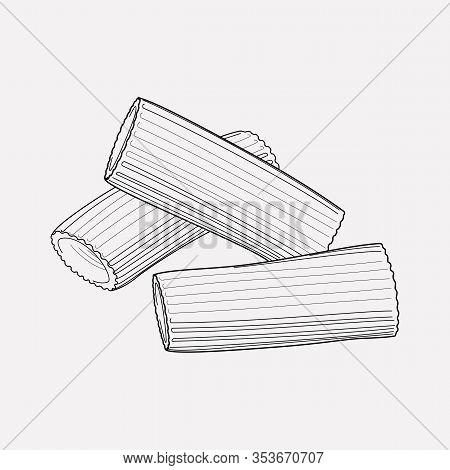 Rigatoni Pasta Shape Icon Line Element. Vector Illustration Of Rigatoni Pasta Shape Icon Line Isolat