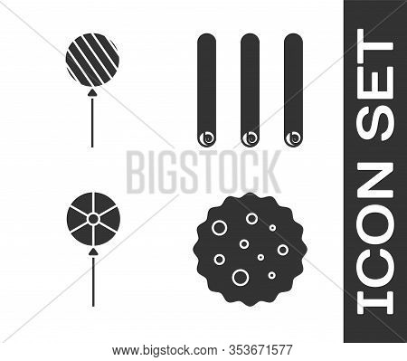 Set Cookie Or Biscuit With Chocolate, Lollipop, Lollipop And Three Rolled Sticks Of Cinnamon Icon. V