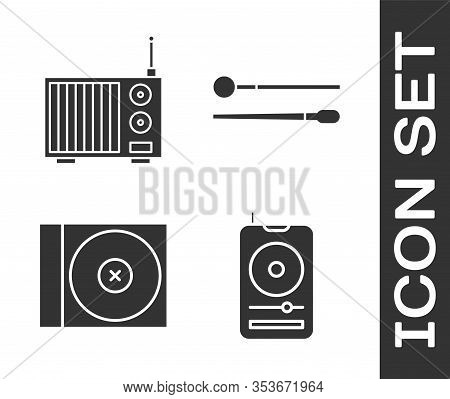 Set Music Player, Radio With Antenna, Cd Or Dvd Disk And Drum Sticks Icon. Vector