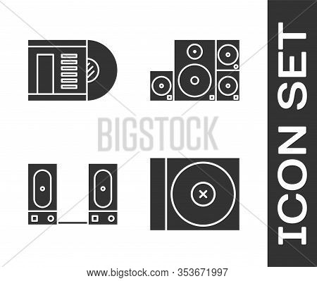 Set Cd Or Dvd Disk, Vinyl Disk, Stereo Speaker And Stereo Speaker Icon. Vector