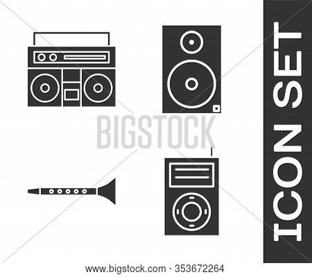 Set Music Mp3 Player, Home Stereo With Two Speakers, Clarinet And Stereo Speaker Icon. Vector