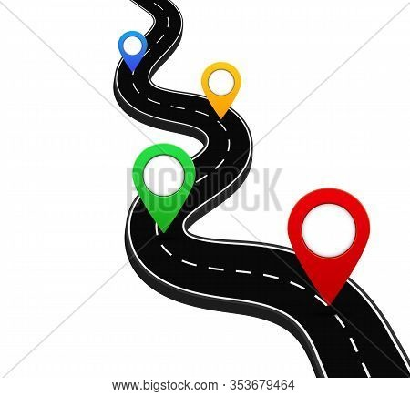 3d Road With Gps Navigation Pin. Route Road With Point For Direction In Travel. Marker Location On S