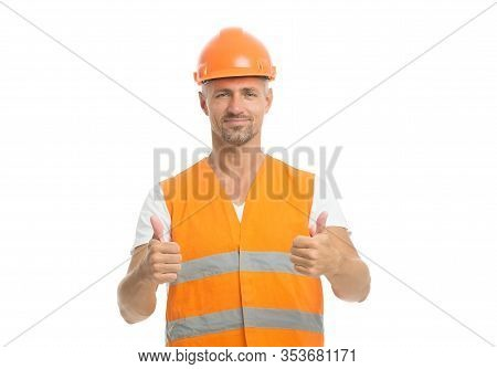 Improvement. Ambitious Project. Successful Engineer. Handsome Builder. Man Protective Helmet Uniform