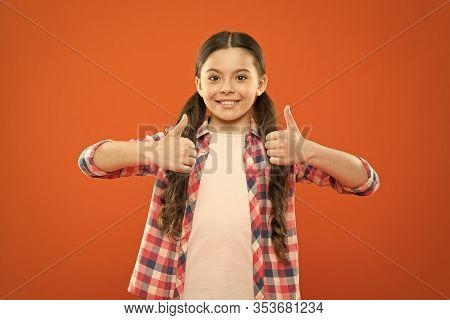 Right Choice. Recommendations And Advice. Girl Cute Child Show Thumbs Up Gesture. Kid Show Thumbs Up