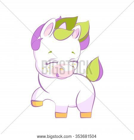 Cute Little White Unicorn Pounding A Hoof In Stars