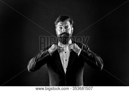 Tie Your Look Together With Style. Bearded Man Wear Elegant Formal Style. Brutal Hipster With Stylis