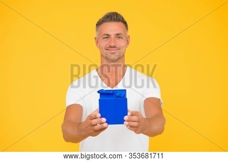 Happy Bachelor Day. Single Man Give Present Box. Happy Bachelor Yellow Background. Bachelor Party Gi