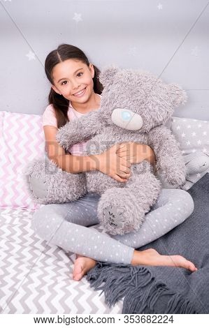Create Kids Playground At Home. Happy Girl Play With Teddy Bear. Childhood Play. Playing With Toys.