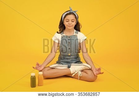 Vegetarian Smoothie Drink. Yoga Training. Kid Girl Sit Meditate. Meditating Practice. Good Vibes. Pe