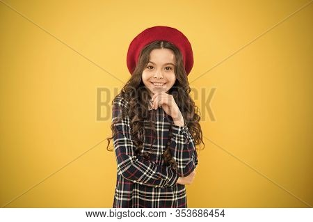 Pure Beauty. Kid Little Cute Fashion Girl Posing With Long Hair And Hat. Fashion Girl. Fashionable A