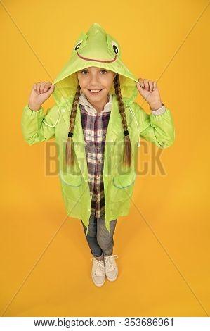 Rainproof Accessory. Waterproof Clothes Every Kid Should Try. Kid Girl Happy Wear Raincoat. Waterpro