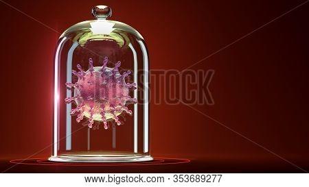 Disease Pathogen Flu Virus Cell Hiv Coronavirus Epidemy Danger Secured Onder Glass Cover Condom Shap