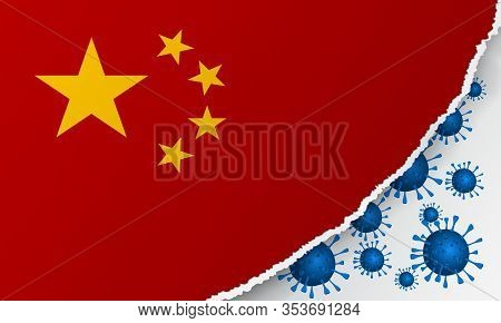 Flag Of China With Outbreak Deadly Coronavirus Covid-19. Banner With China Flag With The Spread Of C