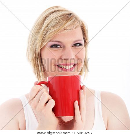 Happy Woman With Large Red Mug Of Coffee