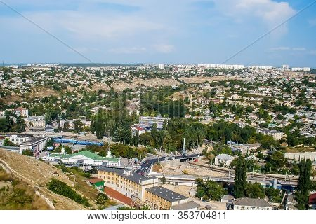 View Of The City From A Height. Beautiful View Of The Panorama Of The Big City From A Height