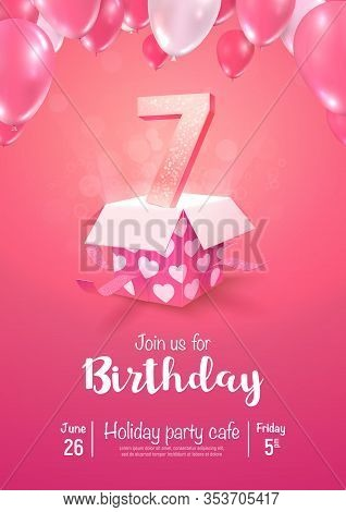 Celebrating Of 7 Years Birthday Vector 3d Illustration On Soft Background. Seven Years Anniversary A