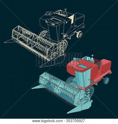 Stylized Vector Illustrations Of A Combine Harvester