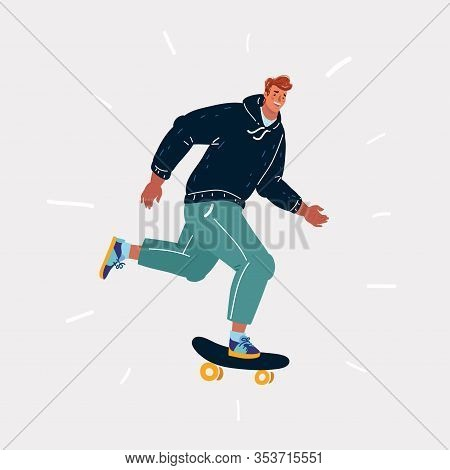 Male Skater On Board. Human Character On White Background.