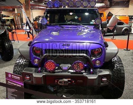 Philadelphia, Pennsylvania, U.s.a - February 9, 2020 - The Purple Color Of 2018 Jeep Wrangler Unlimi