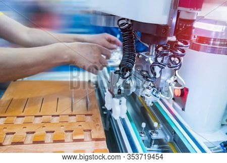 industrial engineer working with machine.Smart factory use Automation robot arm