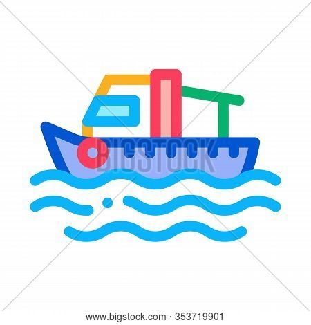 Fishing Boat On Water Wave Icon Thin Line Vector. Motor Boat, Sea Transport, Cruise Motorboat Color