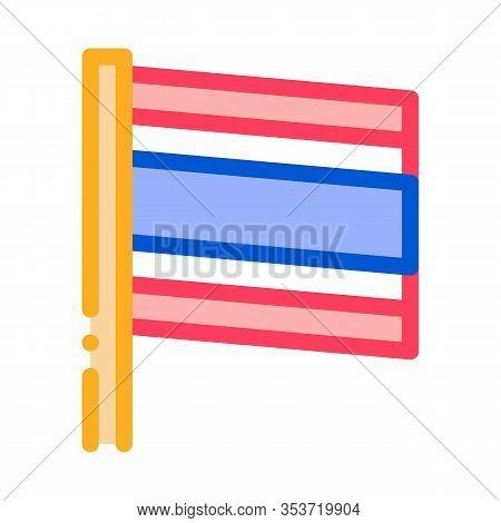 Thailand Flag On Flagstaff Icon Thin Line Vector. National Country Thailand Flag, Patriotic Thai Sym
