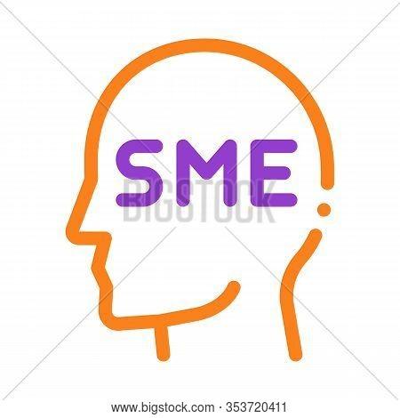Human Head Sme Business Icon Thin Line Vector. Sme Small Medium Enterprise Expert Businessman Profil