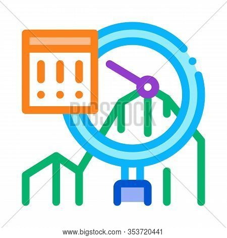 Infographic Peak Research Icon Thin Line Vector. Sme Infographic, Magnifier Glass And Exclamation Ma